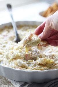 Hot Crab and Cheesy Artichoke Dip