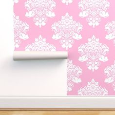 Large Scale Pink Damask - Spoonflower Paper Clip Art, Pink Damask, Color Harmony, Digital Papers, Handmade Home Decor, Spoonflower, Craft Projects, Etsy Seller, Scale