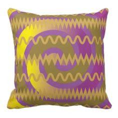 Purple Gold Swirls Waves Chevron Pattern Pillows