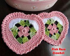 \ PINK ROSE CROCHET /: Centrinho Coaster Coração Granny Square Rosa e Branco ~ Inspiration
