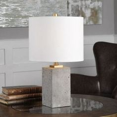Thick Block Of Porous, Lightly Stained Concrete, Accented With Brushed Gold Painted Details. The Round Hardback Drum Shade Is A White Linen Fabric.Thick Block Of Porous, Lightly Stained Concrete, Accented With Brushed Gold Painted Details. Concrete Furniture, Concrete Lamp, Stained Concrete, Concrete Blocks, Plywood Furniture, Table Beton, Luminaria Diy, Beton Diy, Contemporary Table Lamps