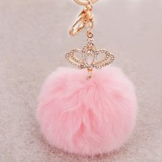 Fluffy Rabbit Fur Pompom Keychain Metal Imperial Crown Key Chain for Bags&Cars Charm Natural Fur Ball Fur Pom Pom Key Chain Color Contact Lenses Online, Fluffy Rabbit, Rabbit Fur, Fur Keychain, Tassel Keychain, Imperial Crown, Pink Accessories, Watch Accessories, Crystal Crown