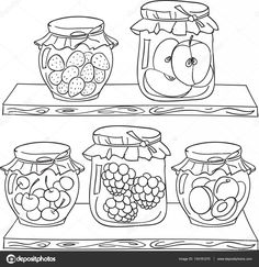 Fruit jam on the wood shelf in a pantry. Coloring book page in doodle style. Food Coloring Pages, Adult Coloring Pages, Coloring Sheets, Coloring Books, Doodle Drawings, Doodle Art, Cute Drawings, Embroidery Applique, Embroidery Patterns