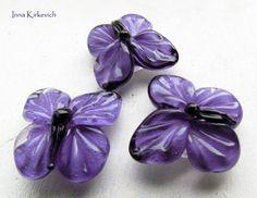 BUTTERFLIES purple lampwork beads 3 artisan by InnaKirkevich