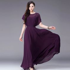 Awesome Slash Neck Lotus Leaf Sleeve Chiffon Solid Vintage Dresses US$83.00  s_XXL