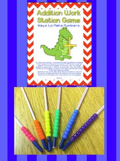 Addition Math Game FREEBIE. Super fun and low maintenance math center to use all year. This is in my choice bucket and my kids LOVE it!  Get rid of those worksheets! Step by step instructions.