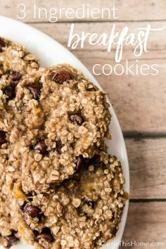 Perfect for a healthy on-the-go breakfast. They're so delicious my family eats the whole batch in less than 24 hours! 3 Ingredient Breakfast Cookies from CarrieThisHome.com