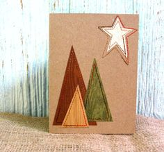 Rustic Kraft CHRISTMAS Card Sewn Modern Trees Notecard Set of 3 with Envelopes