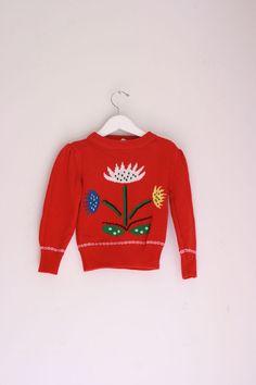 Vintage oshkosh girls sweater red floral size 3T by fuzzymama