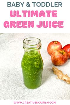 Ultimate Green Juice - Toddler Recipe - Delicious green juice for you and your toddler to fight off the sick season – apples, ginger, coc - Baby Led Weaning Breakfast, Baby Led Weaning First Foods, Baby Breakfast, Breakfast Recipes, Healthy Drinks For Kids, Healthy Toddler Meals, Toddler Snacks, Kids Meals, Pureed Food Recipes