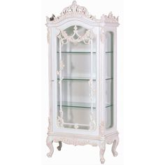 Classical White Heavy Carved Display Cabinet ($1,290) ❤ liked on Polyvore featuring home, furniture, storage & shelves, display units, white curio cabinet, door furniture and white furniture