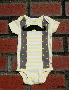 Baby Boy Mustache & Suspenders BodysuitOnly One by alilhipshop, $18.00