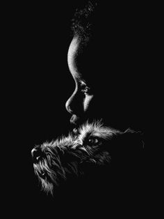 A Boy And His Dog - Diana Lee Scratchbscratch boardoards Charcoal Sketch, Charcoal Art, White Charcoal, Black White Art, Black And White Drawing, Black Paper Drawing, Stippling Art, Scratchboard Art, Scratch Art