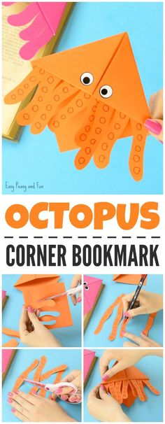Octopus Corner Bookmarks Origami Crafts for Kids Octopus Corner Bookmarks Origami Crafts for Kids Corner Bookmarks, Origami Bookmark, Bookmarks Kids, Handmade Bookmarks, Bookmark Craft, Octopus Crafts, Ocean Crafts, Origami Fish, Origami Art