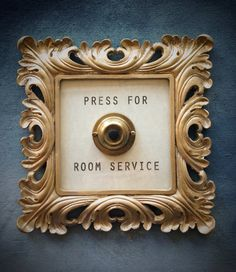 Press For Room Service - Framed Vintage Button