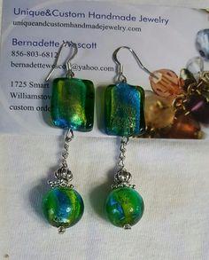 green and blue lampwork glass handmade silver plated earrings #Handmade #DropDangle
