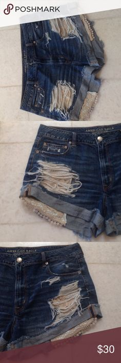 American Eagle Hi-Rise Festival Jean Shorts American Eagle Hi-Rise Festival Jean Shorts! Super cute and fun shorts for summer time! Size 18 and only worn 2 times! I love these shorts but they are too big on me! Hope they can find a home they deserve! If you have any questions feel free to leave them down below and visit my page for more information! Thanks! Happy Poshing! American Eagle Outfitters Shorts Jean Shorts
