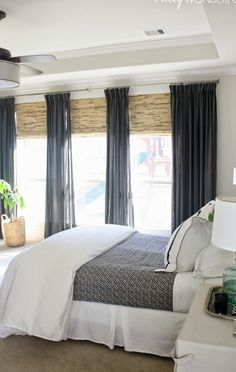 Embrace the wonders of natural light in your bedroom with floor-to-ceiling windows to instantly add warmth to any home décor. Embrace the wonders of natural light in your bedroom with floor-to-ceiling windows to instantly add warmth to any home décor. Bedroom Blinds, Bedroom Windows, Living Room Blinds, Bedroom With Ceiling Fan, Tray Ceiling Bedroom, Marble Bedroom, Curtains Living, Bedroom Wallpaper, House Of Turquoise