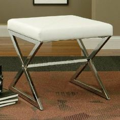 Coaster Ottoman with Metal Base in White Faux Leather by Coaster Home Furnishings. $91.06. Durable construction.. Metal legs.. Black leather like vinyl. Stylish and practical furniture design.. This cool contemporary ottoman will add a sophisticated look to your living room. The sleek shiny silver tone metal base features crossing legs for a bold style. A soft faux leather cushion on top offers a comfortable place to rest your feet, or a great extra seat when guests arrive. ...