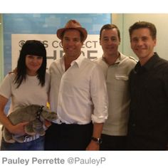 Paulley Perrette, Michael Weatherly, Sean Murray and Brian Dietzen, live tweeting team