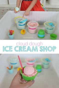 Cloud Dough Ice Cream Shop The fact that it's fall doesn't rule out ice cream shop pretend play, does it? Because today when Miss G realized that it had been a looong time since we last played with cloud dough {the last time probably would have been when Play Ice Cream, Ice Cream Theme, Ice Cream Parlor, Ice Cream Parlour Role Play, Ice Cream Dough, Dramatic Play Area, Dramatic Play Centers, Ice Cream Playdough, Colegio Ideas