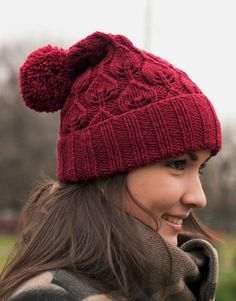 Leaves hand knit hat with pompom