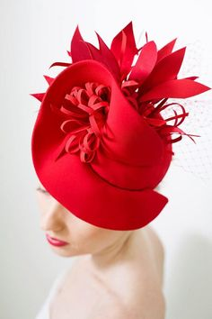 Fashoin Designer Red Fascinator Hat with Birdcage Veil, Melbourne Royal Ascot Derby Fascinator Hat, evening party Dress hat READY TO SHIP Red Fascinator, Feather Headpiece, Fascinators, Headpieces, Bronze Art, Cheer Up Gifts, Buy Hats, Red Hat Society, Kentucky Derby Hats
