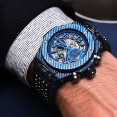 The Hublot Big Bang Unico Italia Independent on the wrist - looks stunning in the metal (or carbon, that is).
