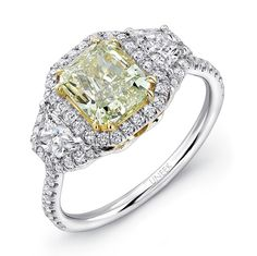 Uneek Natureal Radiant Green Diamond Engagement Ring LVS917