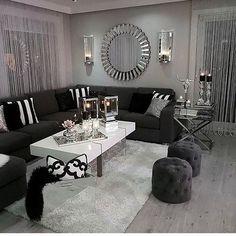 35 Awesome Modern Sofa Design Ideas Living Room Decoration black and white living room decor Glam Living Room, Living Room Decor Cozy, Living Room Modern, Living Room Sofa, Living Room Interior, Apartment Living, Decor Room, Small Living, Cozy Apartment