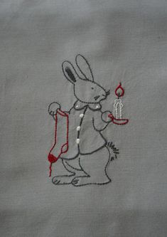 Christmas bunny embroidery