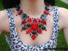 Red and Black Floating Rhinestone Necklace by Sparkle Beast Designs