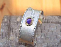 bracelet silver gold amethyste rustic design AtelierRitz € 359,00