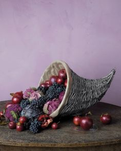 Shimmery Lined Cornucopia - (Thanksgiving table decoration ideas, fall centerpieces, fruits and vegetables, basket indoor decor)