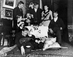 1885 Fun & Games At a week-long party in Behlehem, Pennsylvania, Alice and Julia Bredt Lark, in front of the camera, with their friends, the Mssrs. Rawl, Ordway, Blunt, Gibson, Maurice, and Wildrick.