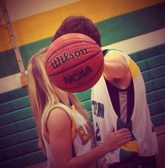Cute idea for those basketball couples(: - I wanna take a picture like this except with a soccer ball.