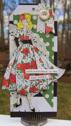 "Julie Nutting Doll Tag ""Rita"". Love this stamp! #prima @primamarketing #julienutting"