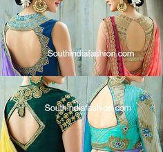 Stylish Saree Blouse Back Neck Designs – South India Fashion - latest saree blouse back neck designs - Simple Blouse Designs, Saree Blouse Neck Designs, Stylish Blouse Design, Latest Blouse Neck Designs, Sari Design, Choli Designs, Designer Kurtis, Blouse Lehenga, Indie Mode