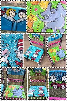 Dr Seuss Childrens chairs Set of Two by LaurieColeDesigns on Etsy Diy Kids Furniture, Funky Painted Furniture, Furniture Logo, Retro Furniture, Ikea Furniture, Dr Seuss Chairs, Dr Seuss Week, Dr Suess, Hand Painted Chairs