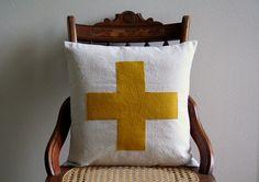 "swiss cross throw pillow cover in mustard yellow / saffron / 16"" x 16""  / natural / farmhouse / cabin style / rustic / dorm home fall decor"