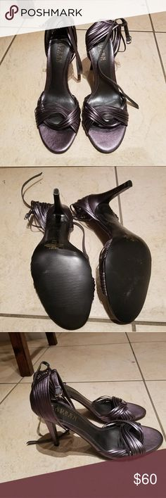 Strappy silver Ralph Lauren heels Ralph Lauren silver, strappy heels. Worn once, super cute 7.5. Ralph Lauren Shoes Heels