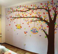 arbol+pintado+en+pared+con+buhos+y+hojas+de+colores+sobre+gotele.JPG (640×594)