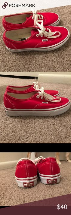 Red Vans Good condition! Gently worn! Minimal wear marks around the edges! Women's size: 6.5, men's size: 5. No trades please! Accepting reasonable offers!! Vans Shoes Sneakers