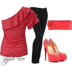 Adorable one shoulder shirt with the bag and shoes and jeans to top things off. So Fab!!!