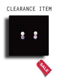 9ct Gold Amethyst & White CZ 2-Stone Stud Earrings.