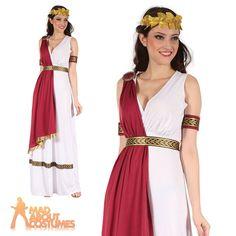 Adult Greek Goddess Costume Ladies Roman Toga Womens Fancy Dress Outfit New