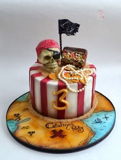 pirate cake... the absolute cutest pirate cake I've seen on here! Awesome details! ..♡