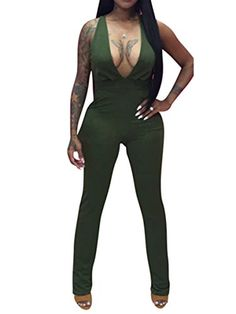 AVINE Women's Sexy Sleeveless V Neck Bodycon Clubwear Party Romper Jumpsuit (Large, Army Green)
