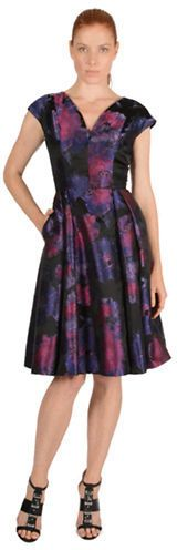 CARMEN MARC VALVO Floral Print Cap Sleeve Dress - dress for pear body shape #pearbody