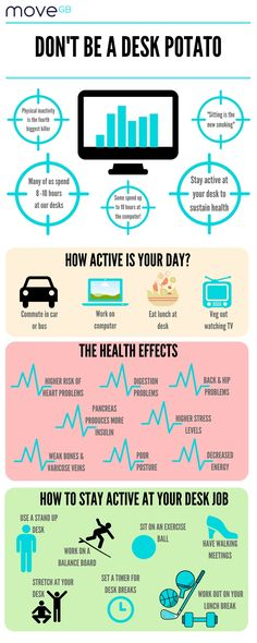 Staying active whilst working at your desk, day-in day-out, is absolutely paramount to keeping healthy!   Sitting is the new smoking - leading a sedentary lifestyle is now the fourth biggest killer of the modern world. It has overtaken obesity.  Weave movement into your working week and don't let your desk job get in the way of your health. Don't be a desk potato!